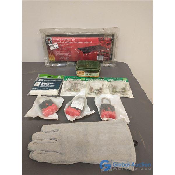 Unused Welding Gloves; Unused Self Keying Pad Locks (2 GM's & Chrysler); Screws; Etc