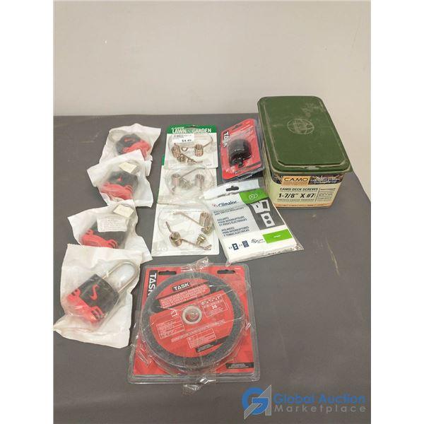 "(4) Unused Self Keying Pad Locks (All for GM) Ladies Work Gloves; Screws; 5 Piece Hole Saw Set; 6"" G"