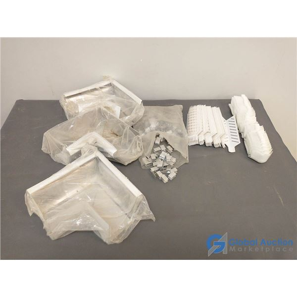 """(3) Tin 5"""" Eaves Trough Corners; Plywood H Clips; Assorted Plastic Drywall Edging"""