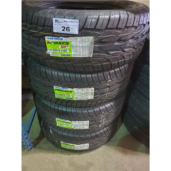 SET OF 4 TOYO TIRES PROXES ST2 285/60 R 18 116V M+S ALL SEASON PERFORMANCE VEHICLE TIRES