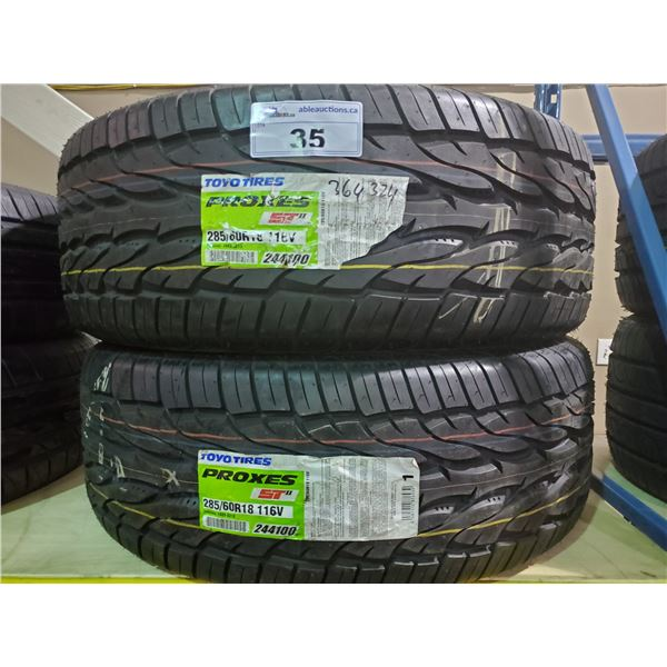 SET OF 2 TOYO TIRES PROXES ST2 285/60 R 18 116V M+S ALL SEASON PERFORMANCE VEHICLE TIRES