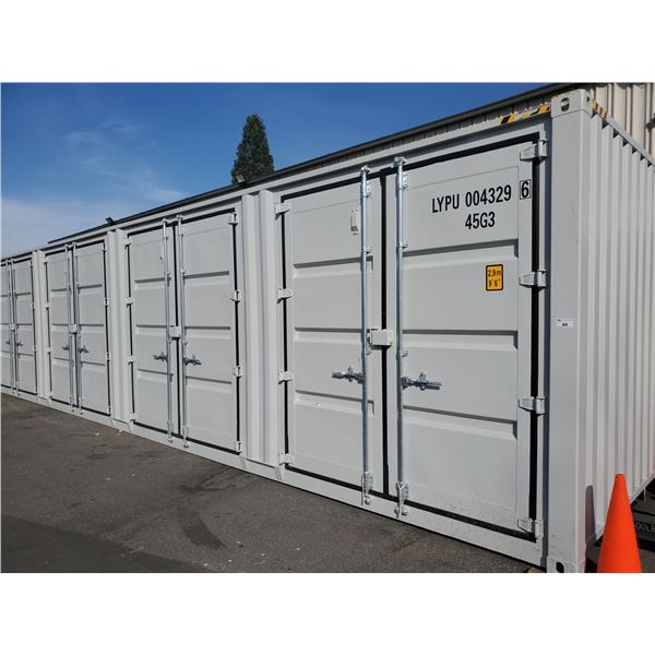 """NEW 9'6""""H X 40'L GREY COMMERCIAL 52,910LBS CAPACITY SWING DOOR SHIPPING CONTAINER"""