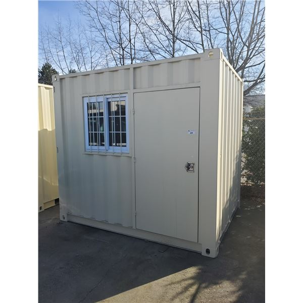 """NEW 98 1/2""""H X 86""""W X 107""""L BEIGE COMMERCIAL OFFICE SHIPPING CONTAINER WITH SIDE MAN DOOR,"""