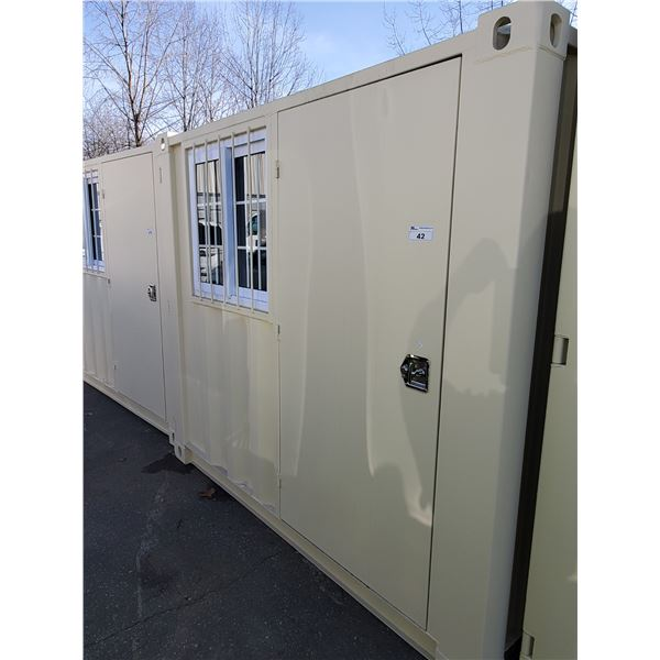 """NEW 86""""H X 77""""W X 97 3/4""""L BEIGE COMMERCIAL OFFICE SHIPPING CONTAINER WITH SIDE MAN DOOR,"""