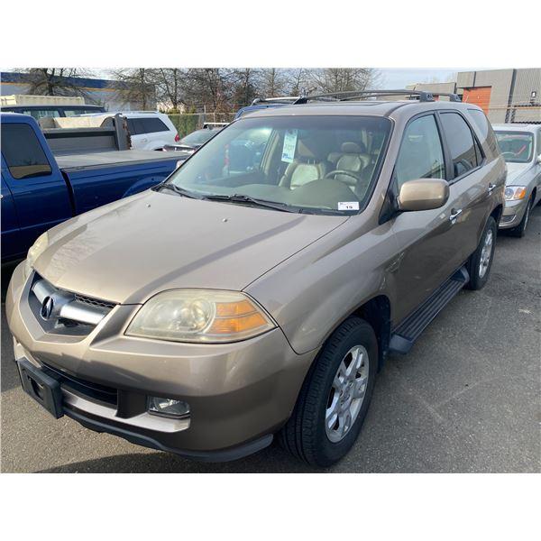 2004 ACURA MDX, 4DR SUV, GOLD, VIN # 2HNYD18664H000067