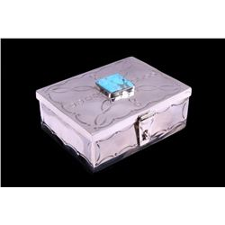 Navajo CJ Butler Fox Turquoise Sterling Silver Box