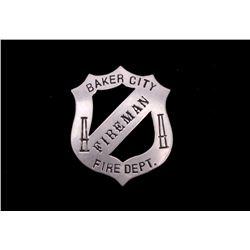 Mahan Family Fireman Badge Baker City, Oregon