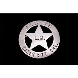Mahan Family Baker City, Oregon Police Badge