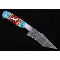 Navajo D. Yellowhorse Turquoise Deer Knife