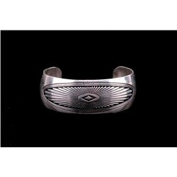 Navajo B Webb Sterling Silver Diamond Eye Bracelet