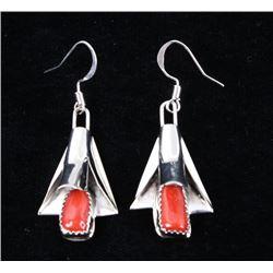 Navajo Silver & Coral Squash Blossom Earrings