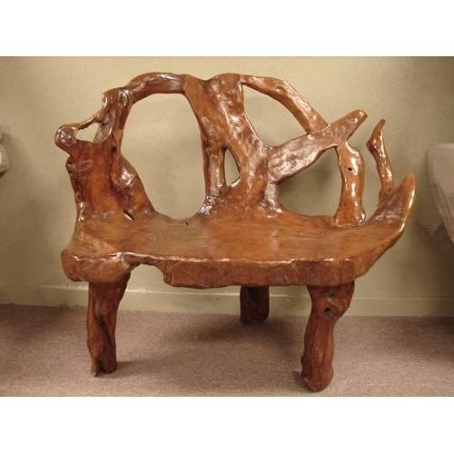 Sensational Art Teak Tree Root Primitive Garden Bench 1532299 Gmtry Best Dining Table And Chair Ideas Images Gmtryco