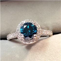 PLATINUM BLUE DIAMOND(1CT) 52 DIAMONDS (0.5CT) RING SIZE 4.5