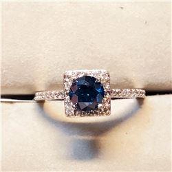 PLATINUM BLUE DIAMOND (0.77CT) THIRTY DIAMONDS (0.32CT) RING SIZE 6