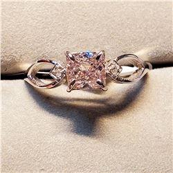 10K FANCY RARE PINK DIAMOND (1.08CT) TWO DIAMOND (0.02CT) RING SIZE 7