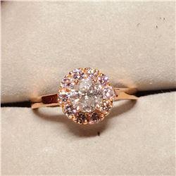 10K PRONG SET DIAMOND (0.75CT) 10 NATURAL PINK DIAMONDS (0.44CT) RING SIZE 6
