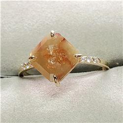 10K NATURAL FANCY RARE DIAMOND(2CT) SIX ROUND DIAMOND(0.06CT) RING SIZE 7