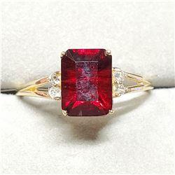 10K VERY INTENSE RED GARNET (1.9CT) 4 DIAMONDS(0.08CT) RING SIZE 6.5