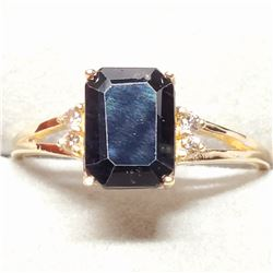 10K NATURAL ENHANCED BLUE SAPPHIRE (1.3CT) 4DIMONDS(0.04CT) RING SIZE 6.25