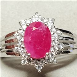 SILVER RUBY(1.58CT) CZ(0.2CT) RING SIZE