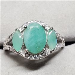 SILVER NATURAL EMERALD(1.8CT) DIAMOND(0.2CT) RING SIZE 7.75
