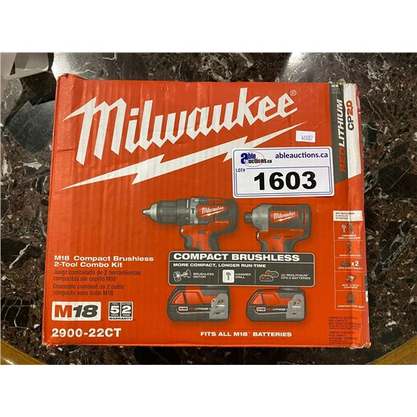 NEW IN BOX MILWAUKEE M18 COMPACT BRUSHLESS 2-TOOL COMBO KIT 2900-22CT