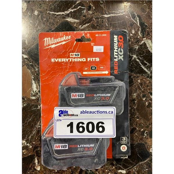 NEW IN PACKAGING MILWAUKEE RED LITHIUM XC 3.0 DUAL BATTERY PACK