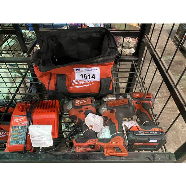 3 MILWAUKEE CORDLESS DRILLS, 1 M18 RED LITHIUM BATTERY, MILWAUKEE MATTERS CHARGER, & MILWAUKEE TOOL