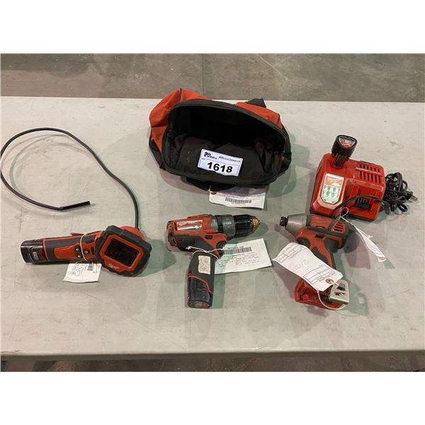 2 MILWAUKEE CORDLESS DRILLS, MILWAUKEE M-SPECTOR 360, 3 BATTERIES, MILWAUKEE BATTERY CHARGER,