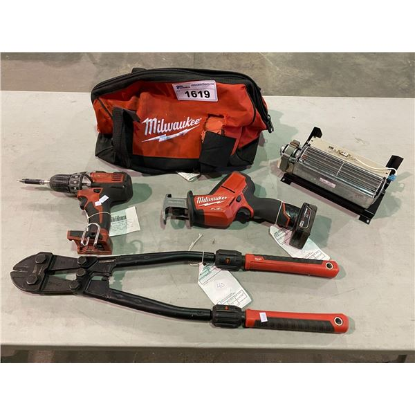 MILWAUKEE CORDLESS DRILL, HACKZALL, BOLT CUTTERS, TOOL BAG, & MORE