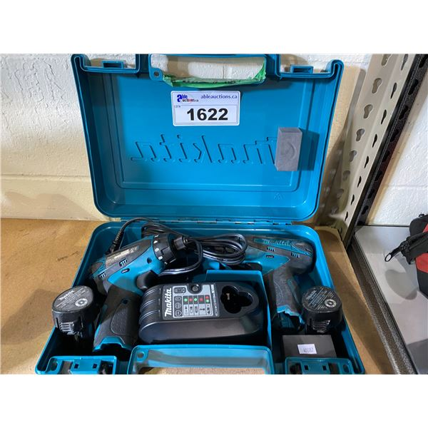 MAKITA DUAL CORDLESS DRILL SET WITH 2 BATTERIES & CHARGER
