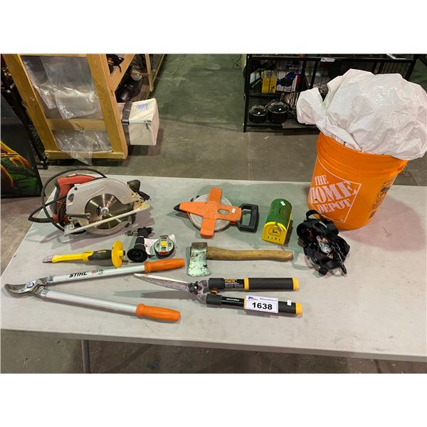 MILWAUKEE SAW, STIHL HEDGE TRIMMERS, FISKARS HEDGE TRIMMERS, STRAPS, MEASURING TAPE, TARP, BUCKET