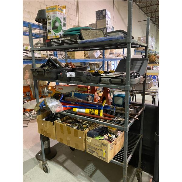 4 RACKS OF ASSORTED STORAGE LOCKER GOODS: POWER TOOLS, HAND TOOLS, CAR JACKS, GAMES, & MORE