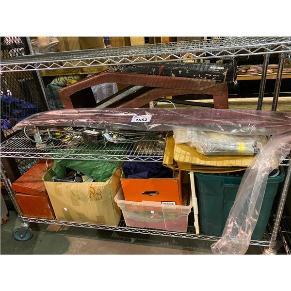 ASSORTED STORAGE LOCKER GOODS INCLUDING: CAR RAMP, 2 PULLERS, TOOL BOX, & MORE