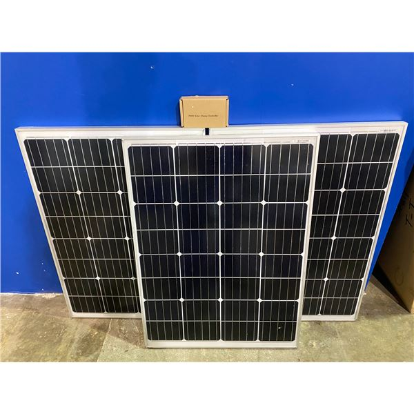 3 100 WATT SOLAR PANELS WITH CHARGE CONTROLLER