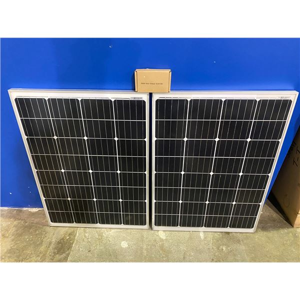 2 100 WATT SOLAR PANELS WITH CHARGE CONTROLLER