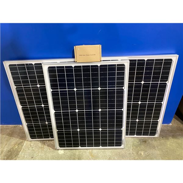 3 50 WATT SOLAR PANELS WITH CHARGE CONTROLLER