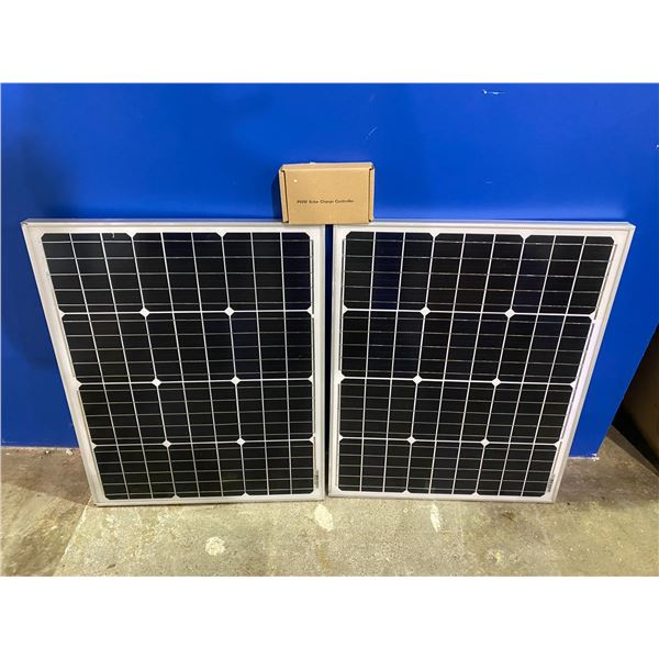 2 50 WATT SOLAR PANELS WITH CHARGE CONTROLLER