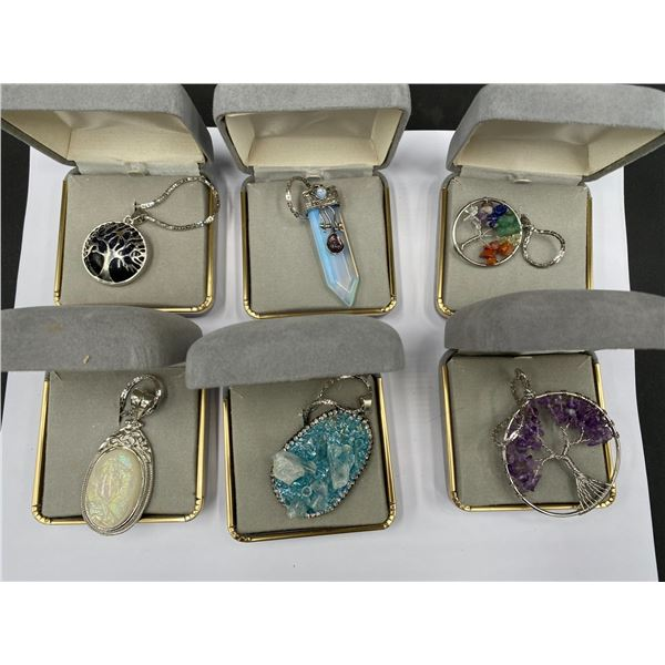 6 GEMSTONE PENDANTS IN BOXES; TREE OF LIFE ON BLUE SANDSTONE, TREE OF LIFE WITH CHAKRA STONES, TREE