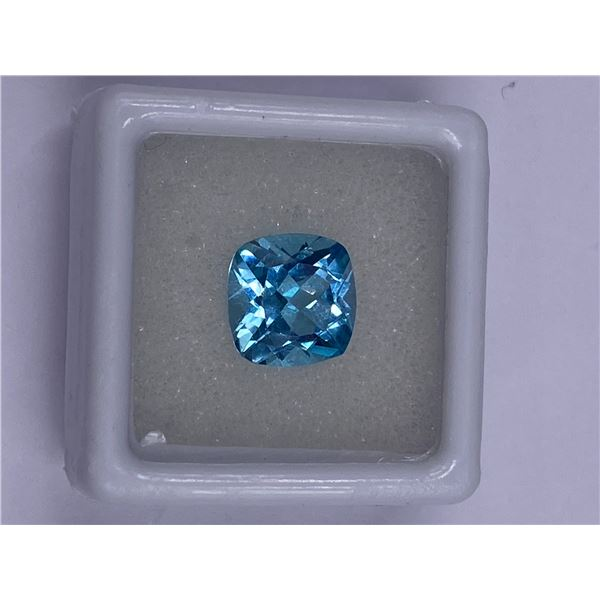 SPARKLING BLUE TOPAZ 4.30CT 12.0 X 7.3MM, BABY BLUE COLOR, CUSHION SHAPE, CLARITY EYE CLEAN, LUSTER