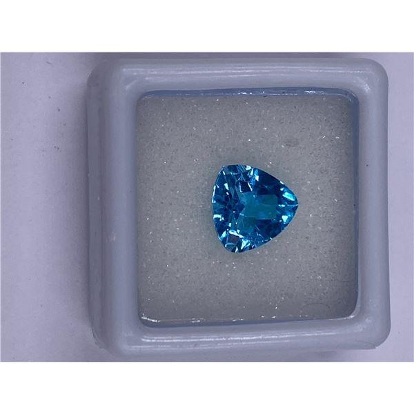 SWISS BLUE TOPAZ 3.06CT, 9.0 X 9.0 X 5.3MM, SWISS BLUE COLOR, TRILLION CUT, CLARITY VS, LUSTER