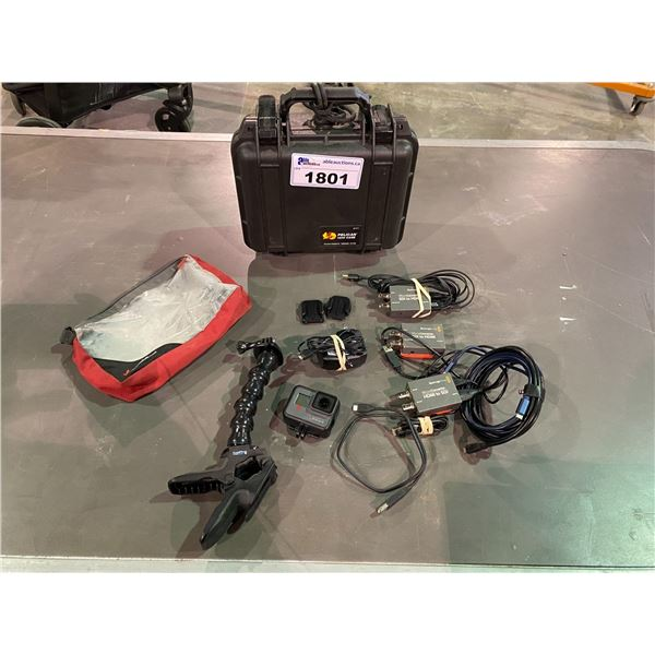 GO PRO, PELICAN 1200 CASE, FLEX CLIP GO PRO HOLDER, MICRO CONVERTER HDMI TO SDI