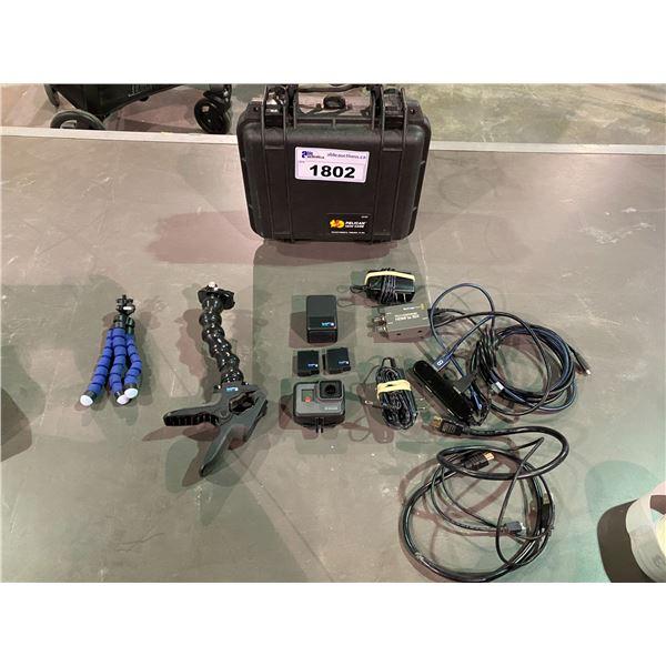 GO PRO, PELICAN 1200 CASE, FLEX CLIP GO PRO HOLDER, MICRO CONVERTER HDMI TO SDI, 2 BATTERIES,