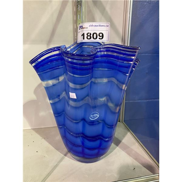 """ROYAL GALLERY MADE IN POLAND BLUE BLOWN GLASS VASE APPROX 12"""" TALL"""