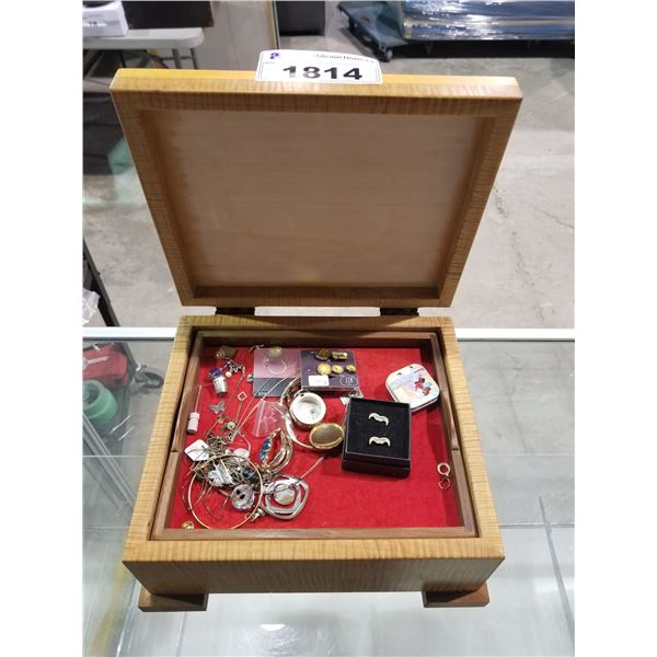 """CARVED WOOD BOX & CONTENTS (ASSORTED COSTUME JEWELRY) 13.75""""L X 13.75""""W 6.5""""H"""