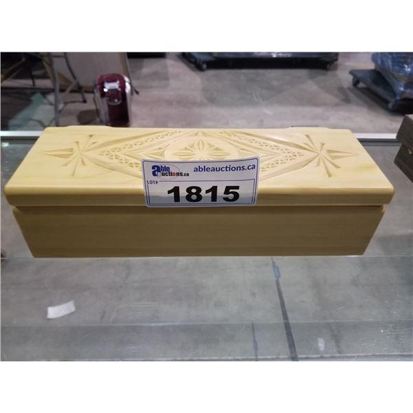 "CARVED WOOD BOX (14""L X 5""D X 3.5""H)"