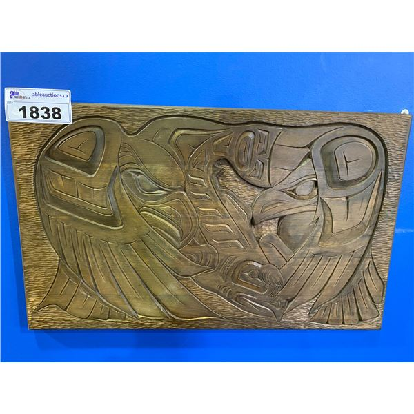 FIRST NATIONS HAND CARVED WOODEN PLAQUE