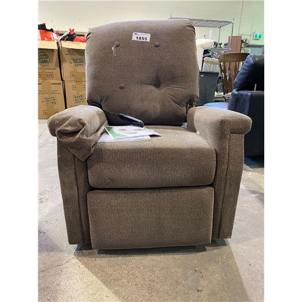 PRIDE ELECTRONIC RECLINING CHAIR MISSING WALL PLUG