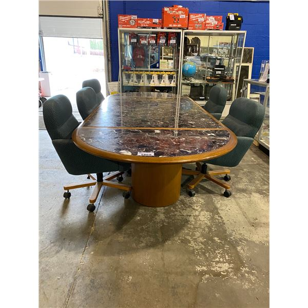 GRANITE TOP CONFERENCE TABLE WITH 5 ROLLING + RECLINING SEATS  APPROX. 10FT X 52""