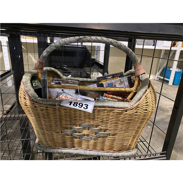 THICK STURDY WICKER BASKET WITH DVDS